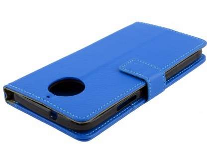Synthetic Leather Wallet Case with Stand for Motorola Moto G5S - Blue