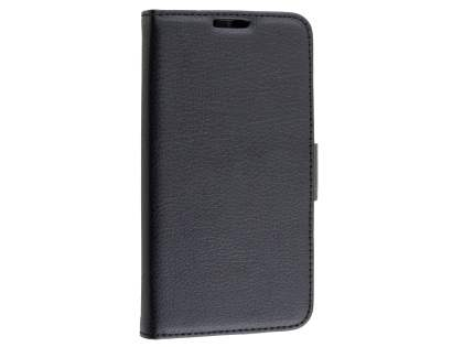 Slim Synthetic Leather Wallet Case with Stand for Motorola Moto G 3rd Gen - Classic Black