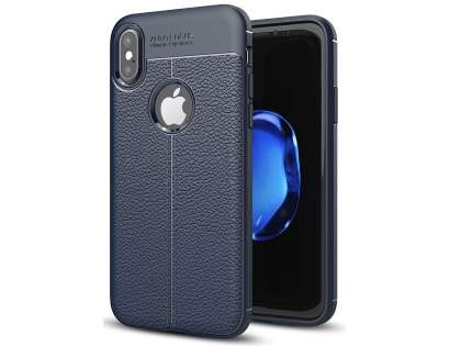 Leather Look Gel Case for iPhone Xs/X - Navy Soft Cover