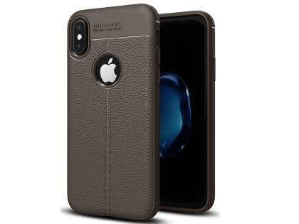 Leather Look Gel Case for iPhone Xs/X - Dark Grey Soft Cover