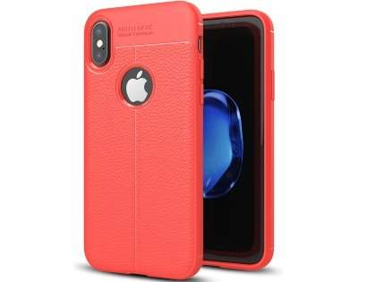 Leather Look Gel Case for iPhone X - Fluorescent Coral Soft Cover