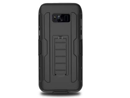 Rugged Case with Holster Belt Clip for Galaxy S8+ - Classic Black Impact Case