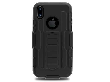 Rugged Case with Holster Belt Clip for iPhone Xs/X - Classic Black Impact Case