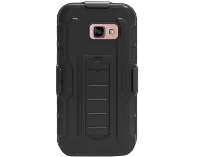 Rugged Case with Holster Belt Clip for Samsung Galaxy A7 (2017) - Classic Black Impact Case
