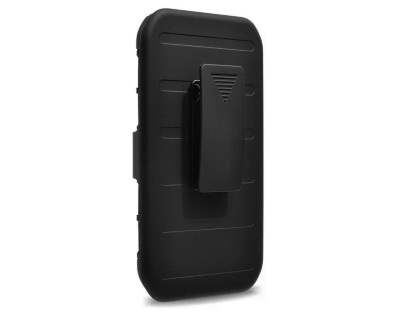 Rugged Case with Holster Belt Clip for Samsung Galaxy J3 (2016) - Classic Black