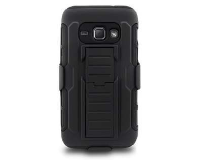 Rugged Case with Holster Belt Clip for Samsung Galaxy J1 (2016) - Classic Black Impact Case