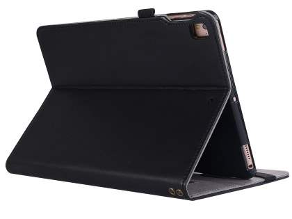 Genuine Leather Case with Stand for iPad 9.7 (2018/2017) / Pro 9.7 / Air 2 / Air - Black Leather Flip Case