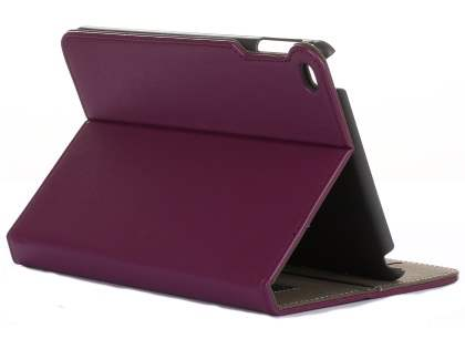 Synthetic Leather Case with Stand for iPad Mini 4 - Purple Leather Flip Case