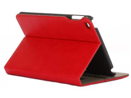 Synthetic Leather Case with Stand for iPad Mini 4 - Red Leather Flip Case