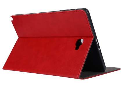 Synthetic Leather Flip Case with Stand for Samsung Galaxy Tab A 10.1 without S Pen - Red Leather Flip Case