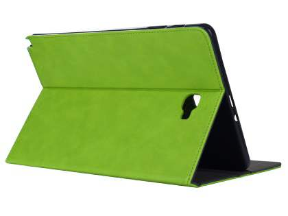 Synthetic Leather Flip Case with Stand for Samsung Galaxy Tab A 10.1 without S Pen - Green Leather Flip Case