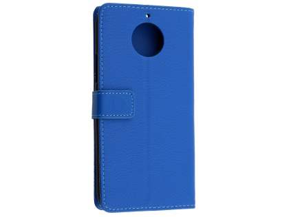 Synthetic Leather Wallet Case with Stand for Motorola Moto G5S PLUS - Blue Leather Wallet Case