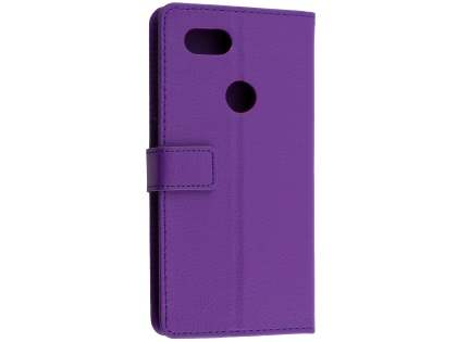 Synthetic Leather Wallet Case with Stand for Google Pixel 2 XL - Purple Leather Wallet Case
