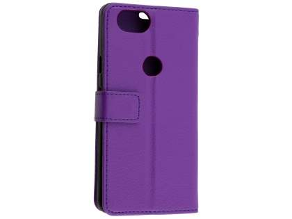 Synthetic Leather Wallet Case with Stand for Google Pixel 2 - Purple Leather Wallet Case