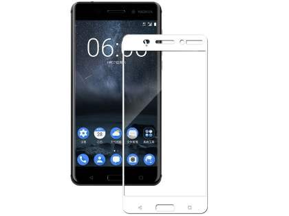 Curved Tempered Glass Full Screen Protector for Nokia 6 - White/Clear Screen Protector