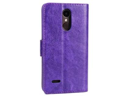 Slim Synthetic Leather Wallet Case with Stand for LG K4 (2017) - Purple Leather Wallet Case