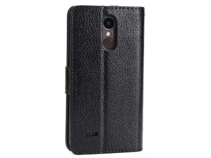 Slim Synthetic Leather Wallet Case with Stand for LG K4 (2017) - Black Leather Wallet Case