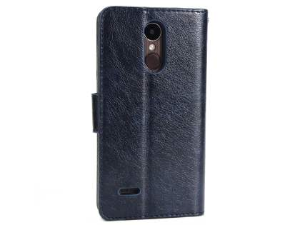 Slim Synthetic Leather Wallet Case with Stand for LG K4 (2017) - Dark Blue Leather Wallet Case