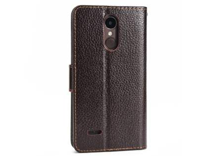 Slim Synthetic Leather Wallet Case with Stand for LG K4 (2017) - Brown Leather Wallet Case