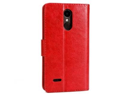 Slim Synthetic Leather Wallet Case with Stand for LG K4 (2017) - Red Leather Wallet Case