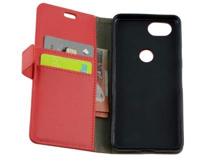 Synthetic Leather Wallet Case with Stand for Google Pixel 2 - Red