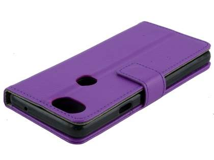 Synthetic Leather Wallet Case with Stand for Google Pixel 2 XL - Purple