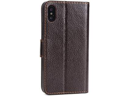 Slim Synthetic Leather Wallet Case with Stand for Apple iPhone Xs/X - Brown Leather Wallet Case