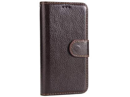 Slim Synthetic Leather Wallet Case with Stand for Apple iPhone Xs/X - Brown