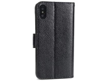 Slim Synthetic Leather Wallet Case with Stand for Apple iPhone Xs/X - Black Leather Wallet Case