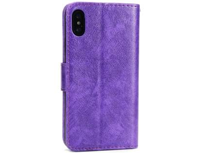 Slim Synthetic Leather Wallet Case with Stand for Apple iPhone Xs/X - Purple Leather Wallet Case