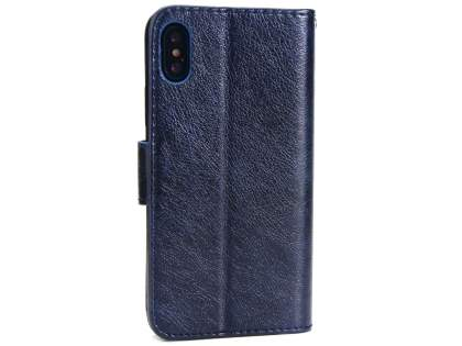 Slim Synthetic Leather Wallet Case with Stand for Apple iPhone Xs/X - Blue Leather Wallet Case
