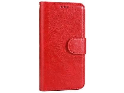 Slim Synthetic Leather Wallet Case with Stand for Apple iPhone X - Red