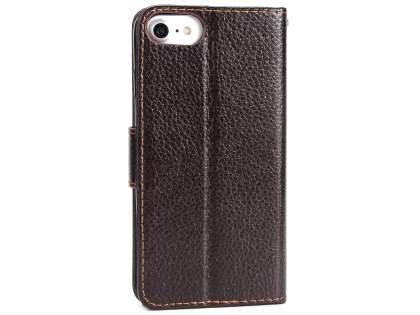 Slim Synthetic Leather Wallet Case with Stand for Apple iPhone 8 - Brown Leather Wallet Case