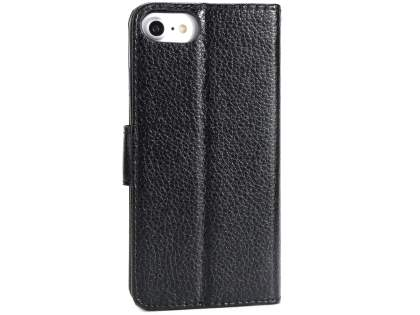 Slim Synthetic Leather Wallet Case with Stand for Apple iPhone 8 - Black Leather Wallet Case