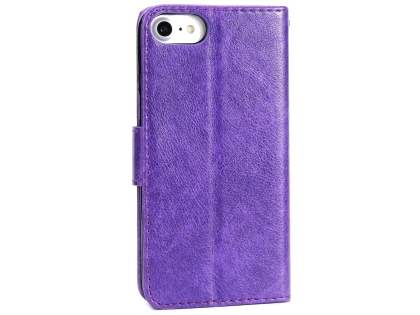 Slim Synthetic Leather Wallet Case with Stand for Apple iPhone 8 - Purple Leather Wallet Case