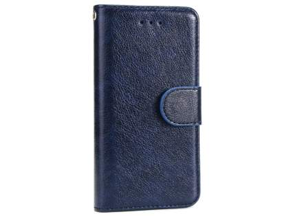 Slim Synthetic Leather Wallet Case with Stand for Apple iPhone 8 - Blue