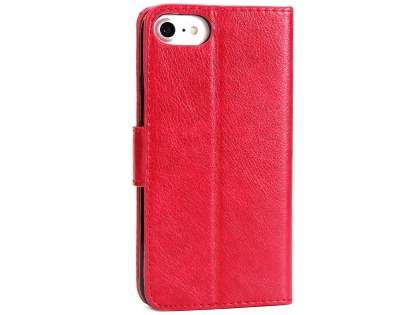 Slim Synthetic Leather Wallet Case with Stand for Apple iPhone 8 - Red Leather Wallet Case