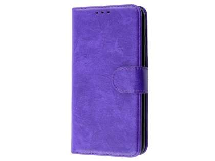 Slim Synthetic Leather Wallet Case with Stand for Apple iPhone 8 Plus - Purple Leather Wallet Case