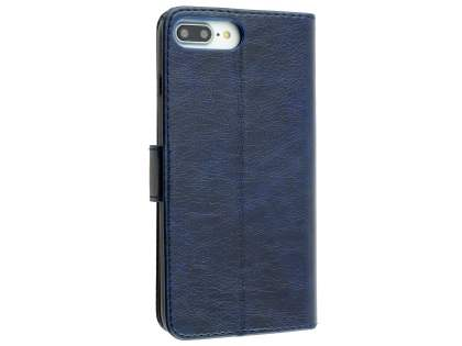 Slim Synthetic Leather Wallet Case with Stand for Apple iPhone 8 Plus - Blue