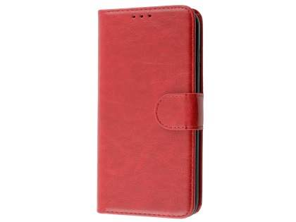 Slim Synthetic Leather Wallet Case with Stand for Apple iPhone 8 Plus - Red Leather Wallet Case