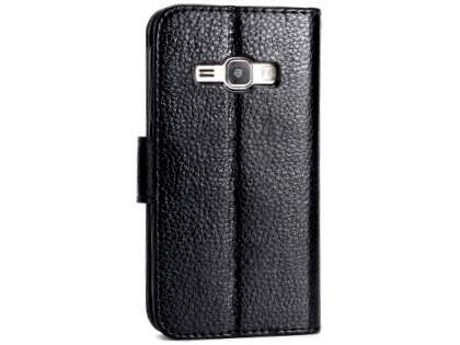 Slim Synthetic Leather Wallet Case with Stand for Samsung Galaxy J1 (2016) - Black Leather Wallet Case