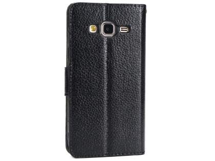 Slim Synthetic Leather Wallet Case with Stand for Samsung Galaxy J3 (2016) - Black Leather Wallet Case