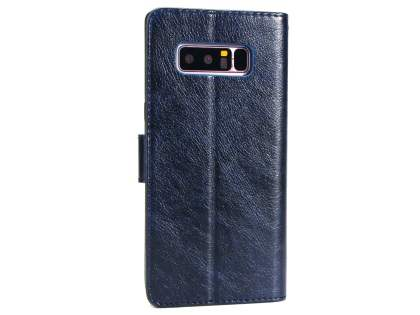 Slim Synthetic Leather Wallet Case with Stand for Samsung Galaxy Note 8 - Blue Leather Wallet Case