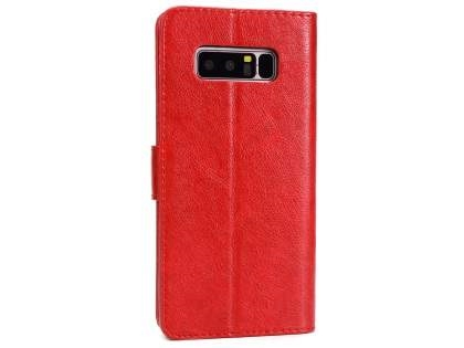 Slim Synthetic Leather Wallet Case with Stand for Samsung Galaxy Note 8 - Red Leather Wallet Case