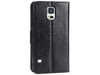 Slim Synthetic Leather Wallet Case with Stand for Samsung Galaxy S5 - Black Leather Wallet Case