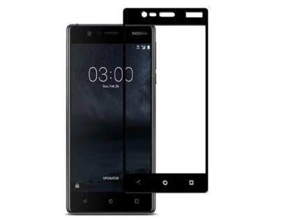 Tempered Glass Full Screen Protector for Nokia 3 - Black/Clear Screen Protector