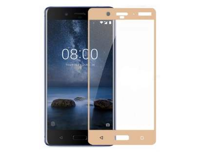 Curved Tempered Glass Full Screen Protector for Nokia 8 - Gold/Clear Screen Protector