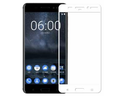 Curved Tempered Glass Full Screen Protector for Nokia 8 - White/Clear Screen Protector