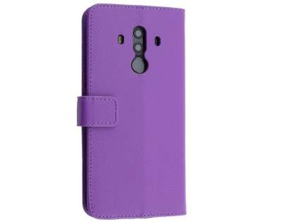 Synthetic Leather Wallet Case with Stand for Huawei Mate 10 Pro - Purple Leather Wallet Case