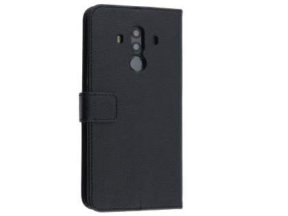 Synthetic Leather Wallet Case with Stand for Huawei Mate 10 Pro - Black Leather Wallet Case